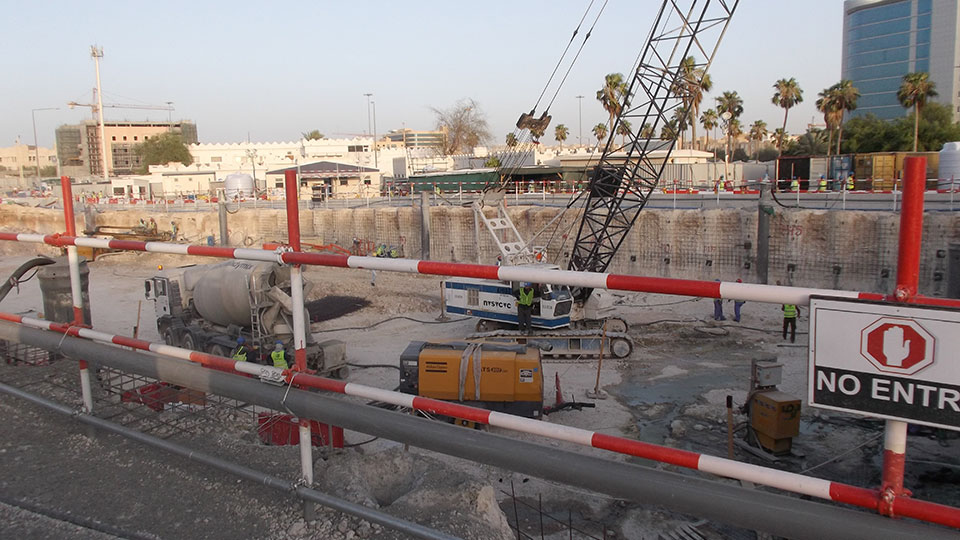 Doha Metro - Green Line - Load cells on excavation supporting wall - Qatar